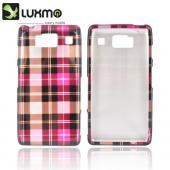 Motorola Droid RAZR HD Hard Case - Plaid Pattern of Pink/ Hot Pink/ Brown/ Gray