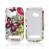 Nokia Lumia 710 Hard Case Cover - Pink Butterflies on White