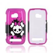 Nokia Lumia 710 Hard Case - White Skull w/ Bow on Hot Pink