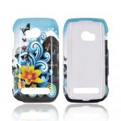Nokia Lumia 710 Hard Case - Yellow Lily & Swirls on Turquoise/ Black