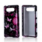 Pink Flowers and Butterflies on Black Hard Case for Nokia Lumia 820
