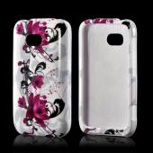 Magenta Flowers & Black Vines on White Hard Case for Nokia Lumia 822
