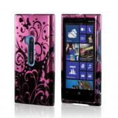 Black Swirl Design on Purple Hard Case for Nokia Lumia 920