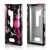 Pink Flowers & Butterflies on Black Hard Case for Nokia Lumia 928