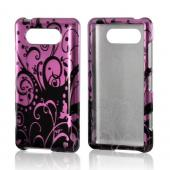 Black Swirls Design on Purple Hard Case for Nokia Lumia 820