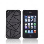 AT&T/ Verizon Apple iPhone 4, iPhone 4S Hard Case w/ Geometric Shapes - Black