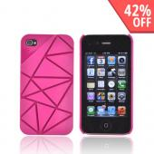 AT&amp;T/ Verizon Apple iPhone 4, iPhone 4S Hard Case w/ Geometric Shapes - Magenta