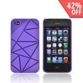 AT&amp;T/ Verizon Apple iPhone 4, iPhone 4S Hard Case w/ Geometric Shapes - Purple