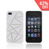 AT&T/ Verizon Apple iPhone 4, iPhone 4S Hard Case w/ Geometric Shapes - Solid White