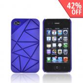 AT&amp;T/ Verizon Apple iPhone 4, iPhone 4S Hard Case w/ Geometric Shapes - Blue