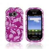 Pantech Crossover P8000 Hard Case - White Vines/ Leaves on Purple