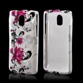 Magenta Flowers & Black Vines on White Hard Case for Pantech Discover