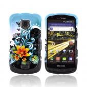 Samsung Droid Charge Hard Case - Yellow Lilly & Swirls on Turquoise/Black