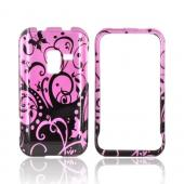 Samsung Conquer 4G Hard Case - Black Swirl Design on Purple