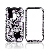 Samsung Conquer 4G Hard Case - Silver Skulls on Black