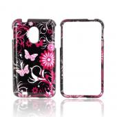 Samsung Epic 4G Touch Hard Case - Pink Flowers &amp; Butterflies on Black
