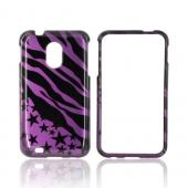 Samsung Epic 4G Touch Hard Case - Black Zebra &amp; Stars on Purple