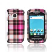 Samsung DoubleTime Hard Case - Plaid Pattern of Hot Pink, Pink, Silver, &amp; Brown