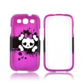 Samsung Galaxy S3 Hard Case - White Skull w/ Bow on Hot Pink