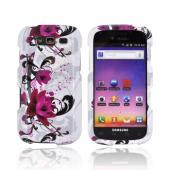 Samsung Galaxy S Blaze 4G Hard Case - Magenta Flower &amp; Black Vines on White