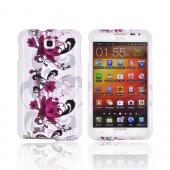 Samsung Galaxy Note Hard Case Cover - Pink Flowers on White