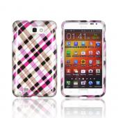 Samsung Galaxy Note Hard Case - Plaid Pattern of Pink, Hot Pink, Brown, &amp; Silver