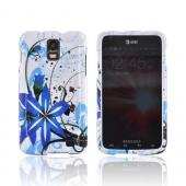Samsung Galaxy S2 Skyrocket Hard Case - Blue Flower Splash on White