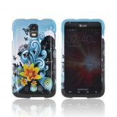 Samsung Galaxy S2 Skyrocket Hard Case - Yellow Lily &amp; Swirls on Turquoise/ Black