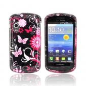 Samsung Stratosphere i405 Hard Case - Pink Flowers &amp; Butterflies on Black
