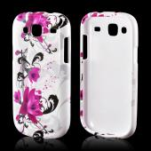 Magenta Flowers & Black Vines on White Hard Case for Samsung Stratosphere 3