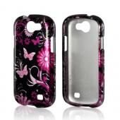 Pink Flowers &amp; Butterflies on Black Hard Case for Samsung Galaxy Express