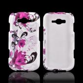 Samsung Focus 2 Hard Case - Magenta Flower & Black Vines on White