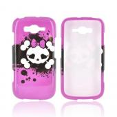 Samsung Focus 2 Hard Case - White Skull w/ Bow on Hot Pink