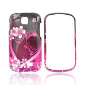 Samsung Galaxy Appeal Hard Case - Hot Pink/ Purple Flowers &amp; Heart