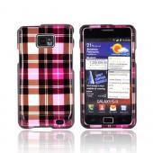 AT&amp;T Samsung Galaxy S2 Hard Case - Plaid Pattern of Pink/ Hot Pink/ Brown/ Gray