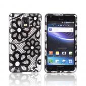 Samsung Infuse i997 Hard Case - Black Lace Flowers on Silver