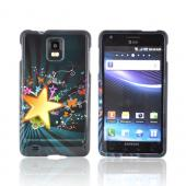 Samsung Infuse i997 Hard Case - Star Blast & Butterflies on Teal/ Black