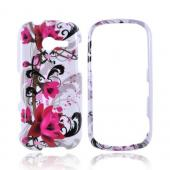 Samsung Array M390 Hard Case - Magenta Flowers &amp; Black Vines on White