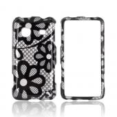 Samsung Galaxy Prevail M820 Hard Case - Black Lace Flowers on Silver
