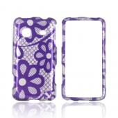 Samsung Galaxy Prevail M820 Hard Case - Purple Flower Lace on Silver