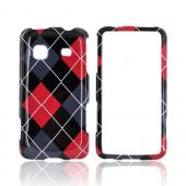Samsung Galaxy Prevail M820 Hard Case - Red/ Black/ Gray Argyle