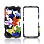 Samsung Galaxy Prevail M820 Hard Case - Rainbow Butterflies on Black
