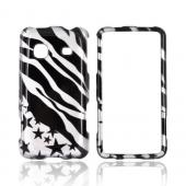 Samsung Galaxy Prevail M820 Hard Case - Black Zebra & Stars on Silver