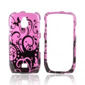 Samsung Exhibit T759 Hard Case - Black Swirl Designs on Purple
