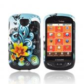 Samsung Brightside Hard Case - Yellow Lily w/ Swirls on Turquoise/ Black