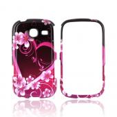 Samsung Freeform 3 Hard Case - Hot Pink/ Purple Flowers & Hearts