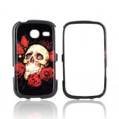 Samsung Freeform 3 Hard Case - Skull &amp; Red Roses on Black