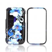 Samsung Galaxy Indulge R910 Hard Case - Blue Flowers on Black