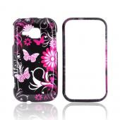 Samsung Galaxy Indulge R910 Hard Case - Pink Floral Design on Black