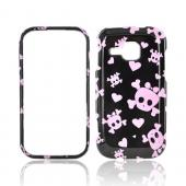 Samsung Galaxy Indulge R910 Hard Case - Pink Skulls on Black